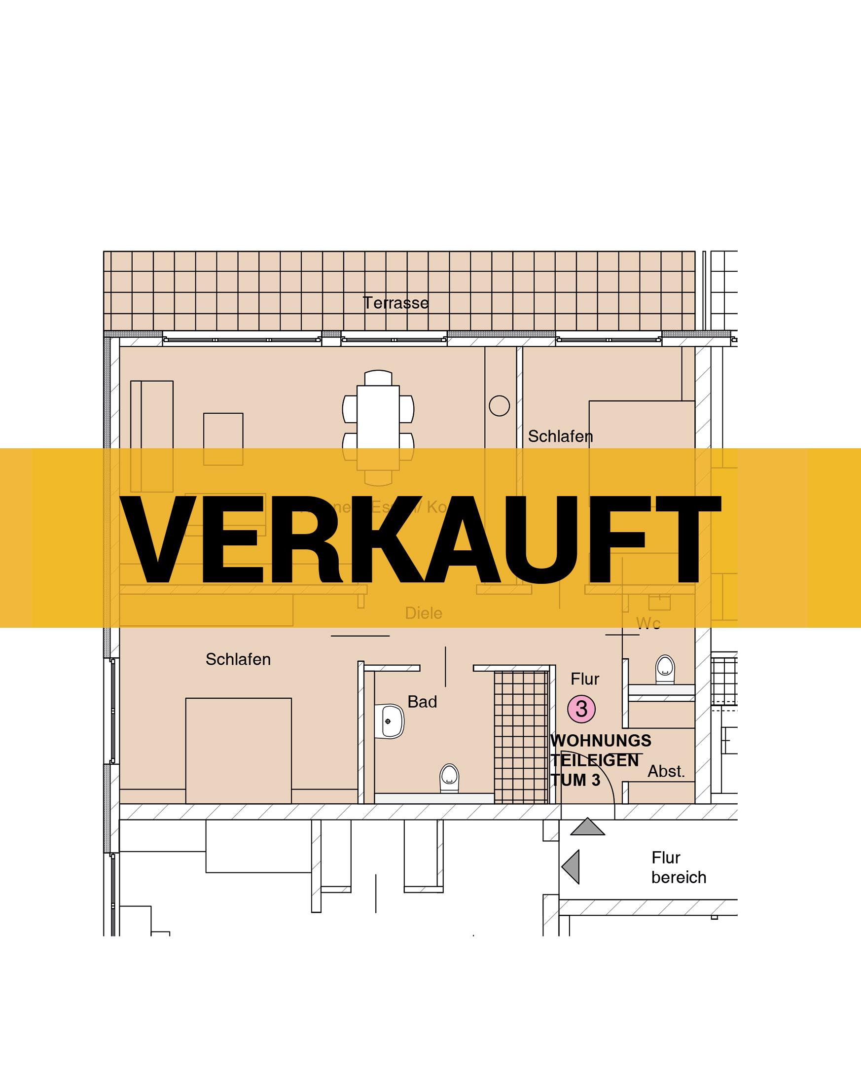 Grundriss einer Wohnung - verkauft