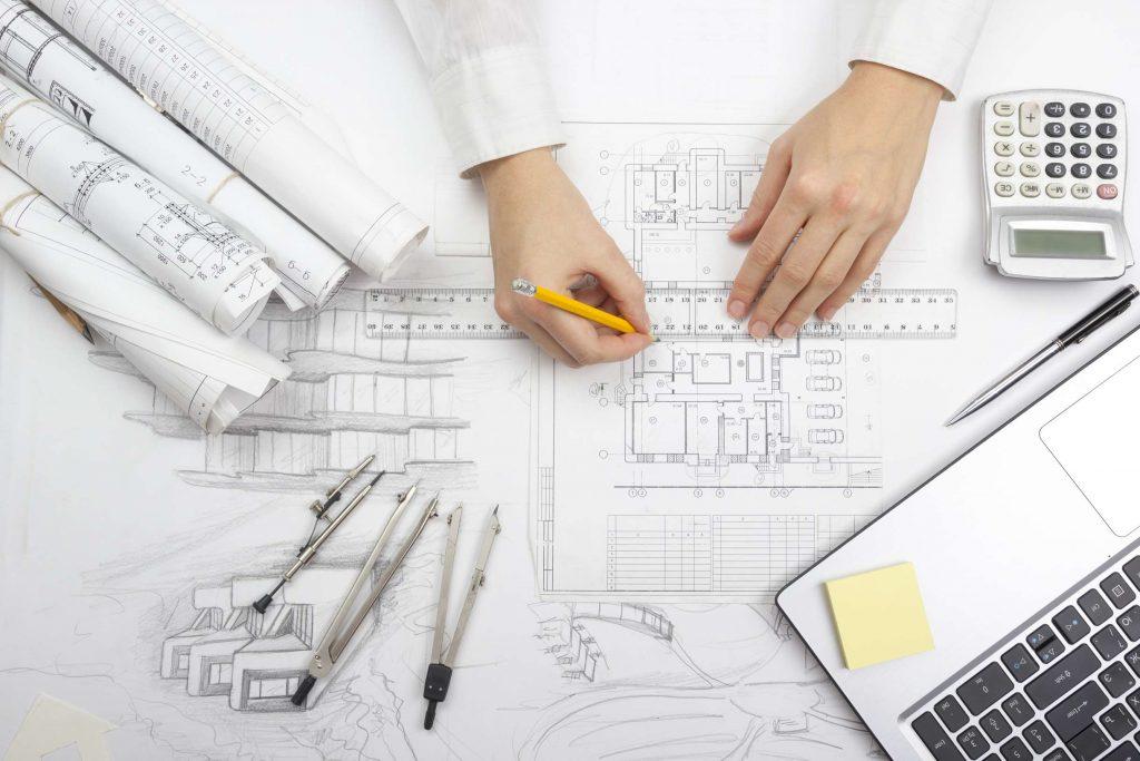 Die Zeichnung eines Bauplanes von oben gesehen